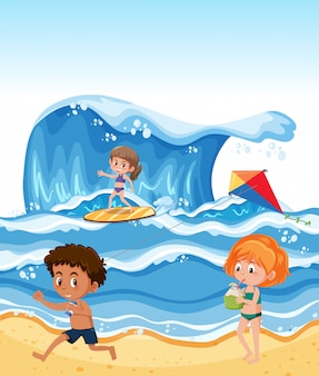 여름 해변에서 아이들