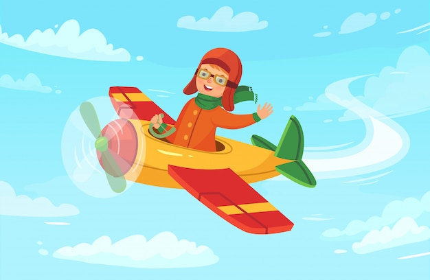 Children aviator flying in airplane, little boy avia trip and airplane flight in sky vector illustration