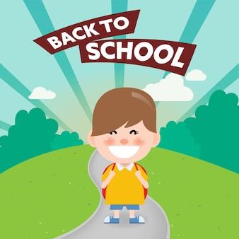 Children back to school character.