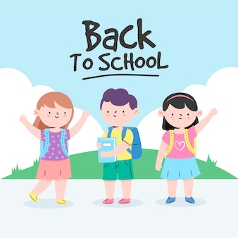 Children back to school drawing