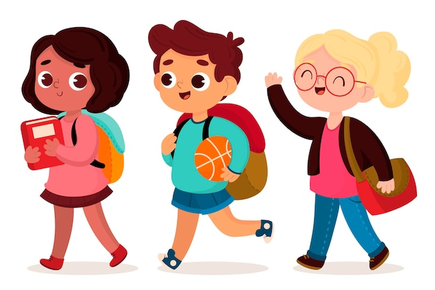 Children back to school in flat design