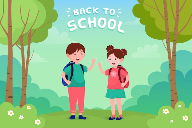 Children back to school illustration