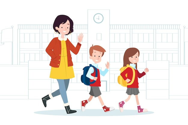 Children back to school with parents illustration