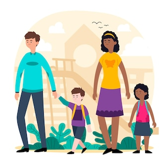 Children back to school with parents