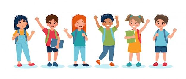 学校に戻る子供たち、かわいいキャラクターのセット。