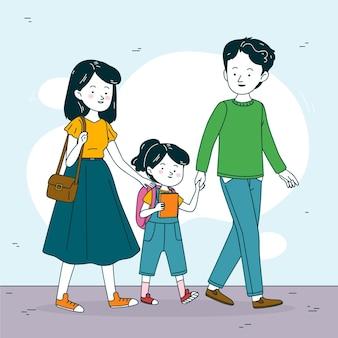 両親のイラストが学校に戻る子供