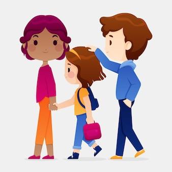 부모와 함께 학교로 돌아가는 아이들