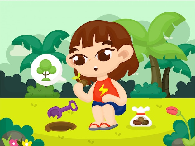 Children background with nature landscape