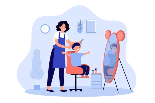 Children barber cutting boys hair illustration