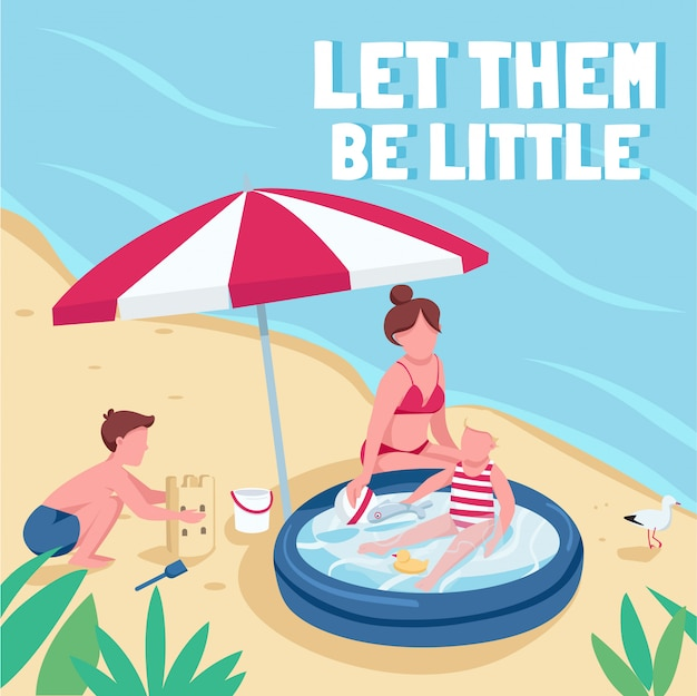 Children beach activities social media post . let them be little phrase. web banner design template. booster, content layout with inscription.