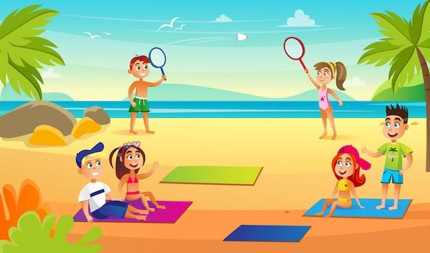 Children on beach near sea having fun, activities.