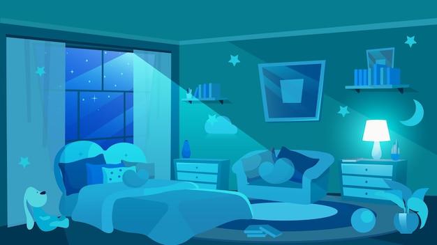 어린이 침실 가구 평면. 창을 통해 부드러운 빛을 비추는 달. 여자 아파트 인테리어. 쿠션이있는 귀여운 침대와 소파. 장식 별과 벽에 구름