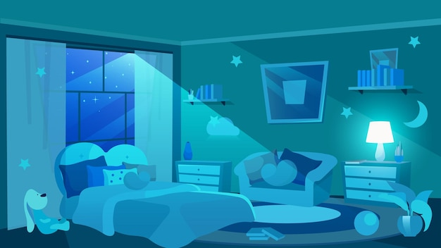 Children bedroom furnishing flat . moon shedding soft light through window. girls apartment interior. cute bed and sofa with cushions. decorative stars and clouds on wall
