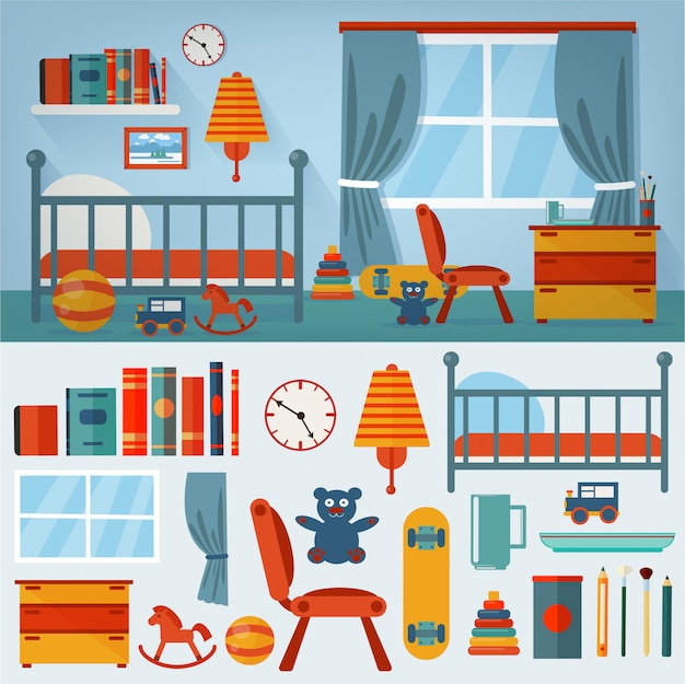 Children bedroom interior with furniture and set of toys