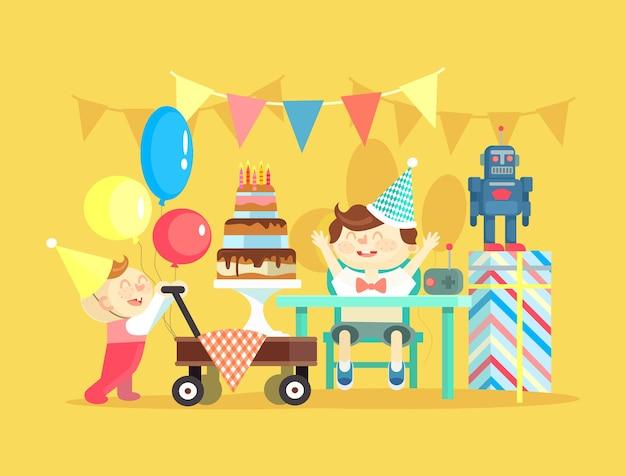 子供の誕生日。フラットイラスト
