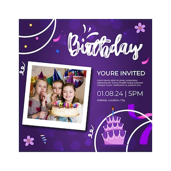 Children birthday flyer template