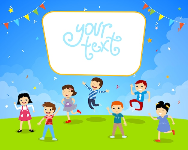 Children birthday garden party illustration