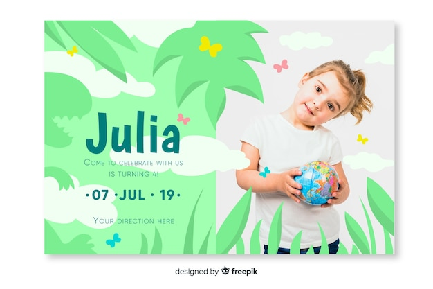Children birthday invitation template with image