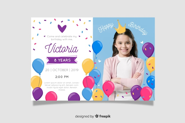 Children birthday invitation template with image