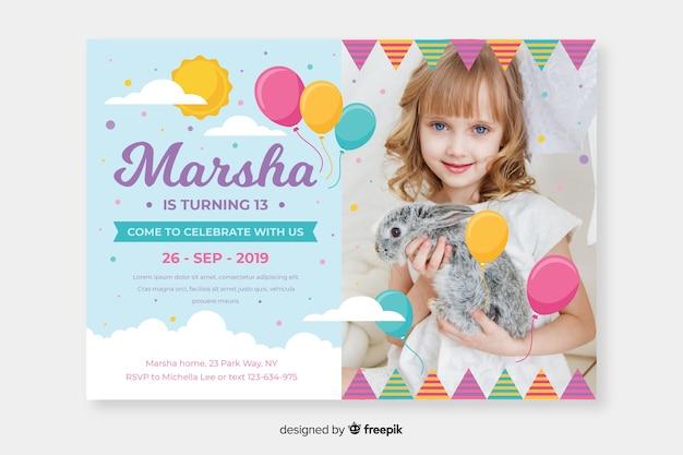 Children birthday invitation template with photo