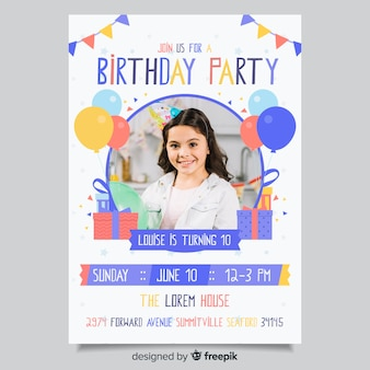 Children birthday invitation template with photo