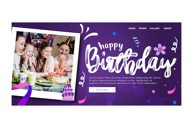 Children birthday landing page