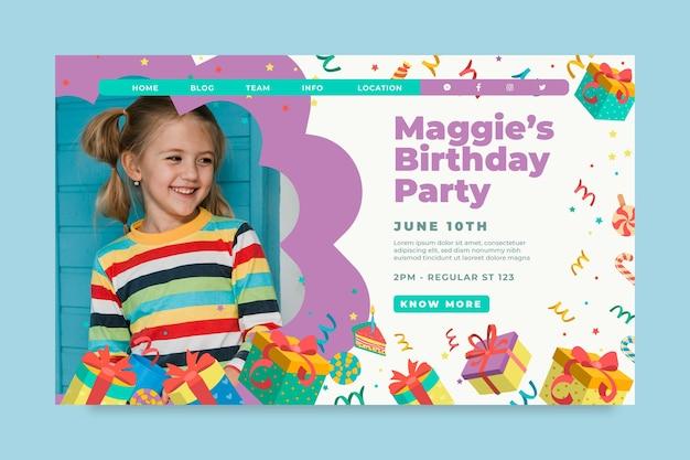 Children birthday landing page