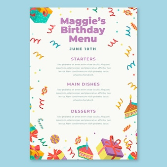 Детский шаблон меню дня рождения