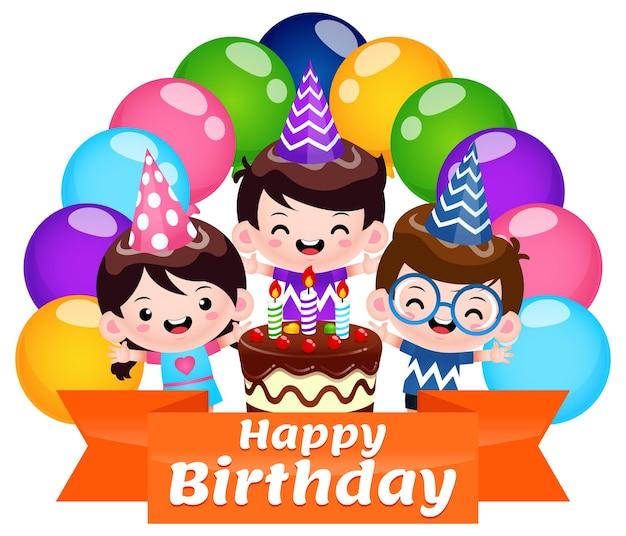 다채로운 풍선과 함께 어린이 생일