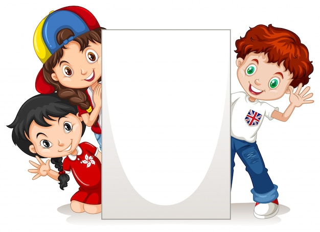 Children behind the blank sign illustration