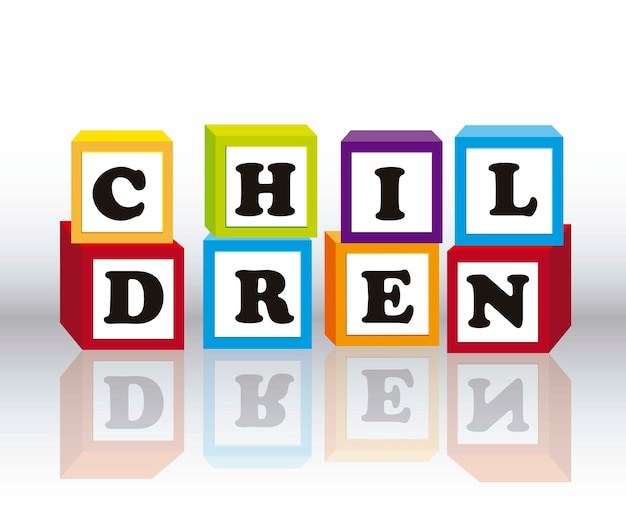 Children blocks with shadow over gray background vector illustration