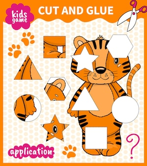 Children board animal game cut shape and glue in place for preschoolers and primary school students worksheets.