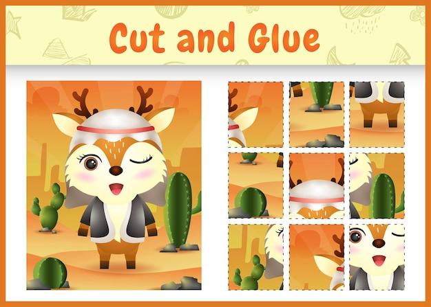 어린이 보드 게임은 아랍어 전통 의상을 사용하여 귀여운 사슴으로 테마 부활절을 자르고 붙입니다.