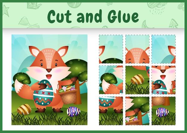어린이 보드 게임은 양동이 계란과 부활절 달걀을 들고 귀여운 여우와 테마 부활절을 잘라 접착제