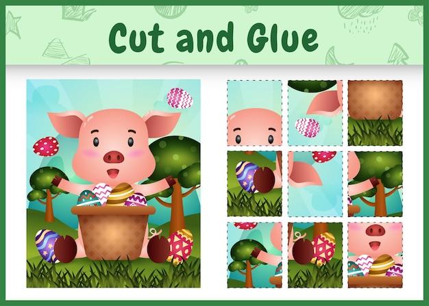 어린이 보드 게임은 양동이 달걀에 귀여운 돼지와 함께 부활절 테마를 잘라 붙입니다.