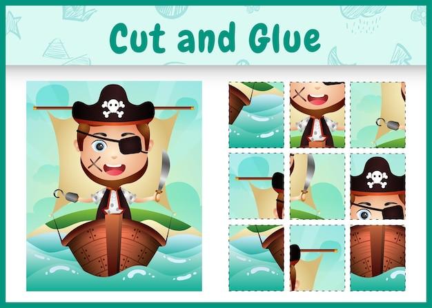 船のかわいい海賊の男の子のキャラクターと子供たちのボードゲームのカットと接着剤をテーマにしたイースター
