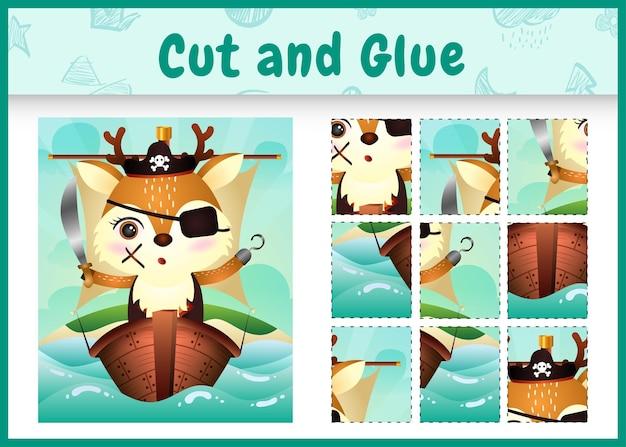 船のかわいい海賊鹿のキャラクターと子供たちのボードゲームのカットと接着剤をテーマにしたイースター