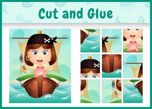 船のかわいい海賊の女の子のキャラクターと子供たちのボードゲームのカットと接着剤をテーマにしたイースター