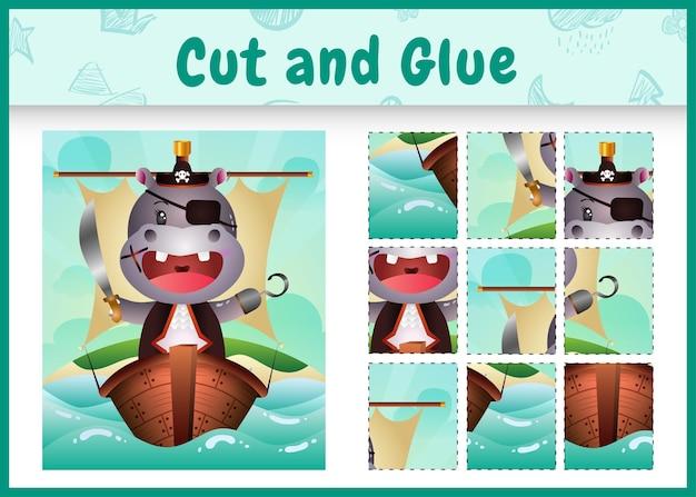 船のかわいい海賊カバのキャラクターと子供たちのボードゲームのカットと接着剤をテーマにしたイースター