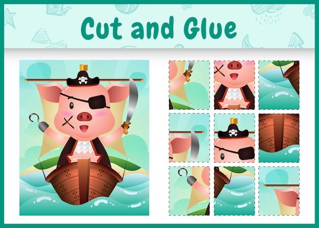 船のかわいい海賊豚のキャラクターと子供たちのボードゲームのカットと接着剤をテーマにしたイースター