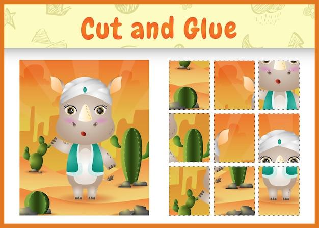 어린이 보드 게임은 아랍어 전통 의상을 사용하여 귀여운 코뿔소로 테마 부활절을 자르고 붙입니다.