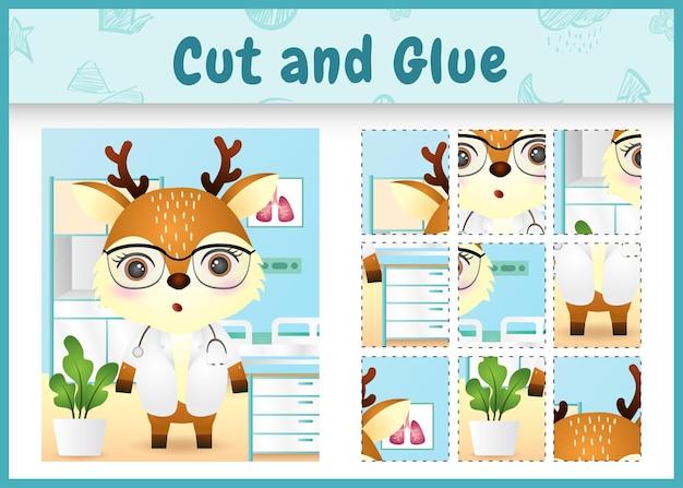 귀여운 사슴 의사 캐릭터로 어린이 보드 게임을 자르고 붙입니다.