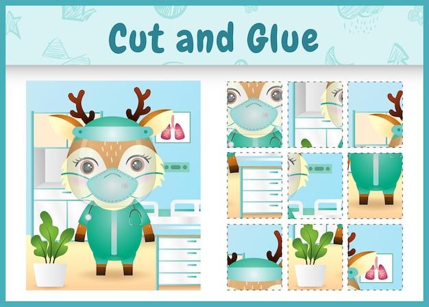 의상 의료 팀을 사용하여 귀여운 사슴으로 어린이 보드 게임을 자르고 붙입니다.