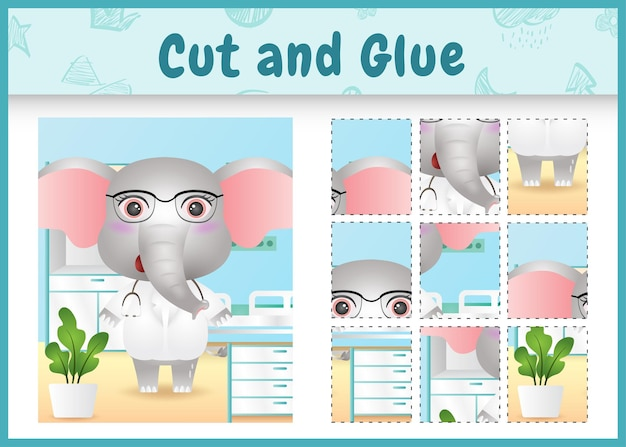 かわいい象の医者のキャラクターと子供たちのボードゲームのカットと接着剤