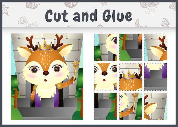 귀여운 왕 사슴 캐릭터로 어린이 보드 게임을 자르고 붙입니다.