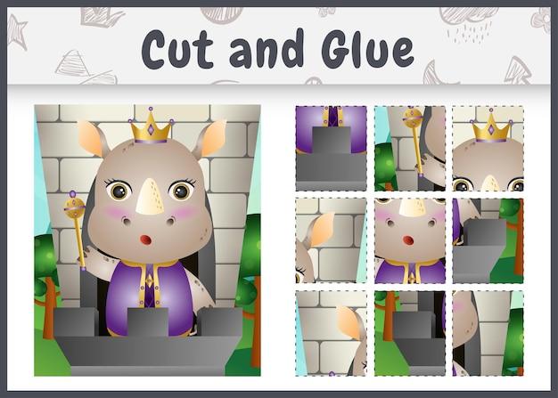 귀여운 왕 코뿔소 캐릭터로 어린이 보드 게임을 자르고 붙입니다.