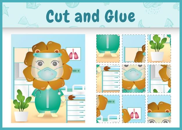 의상 의료 팀을 사용하여 귀여운 사자로 어린이 보드 게임을 자르고 붙입니다.