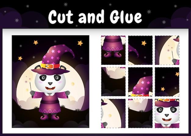 ハロウィーンの衣装を使用してかわいいパンダと子供ボードゲームカットと接着剤