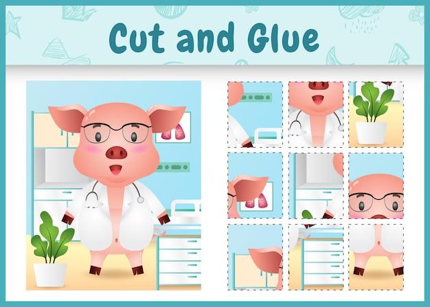 かわいい豚の医者のキャラクターと子供たちのボードゲームのカットと接着剤