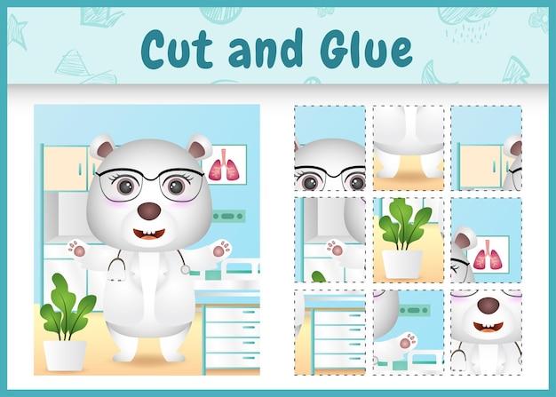 かわいいホッキョクグマの医者のキャラクターと子供たちのボードゲームのカットと接着剤